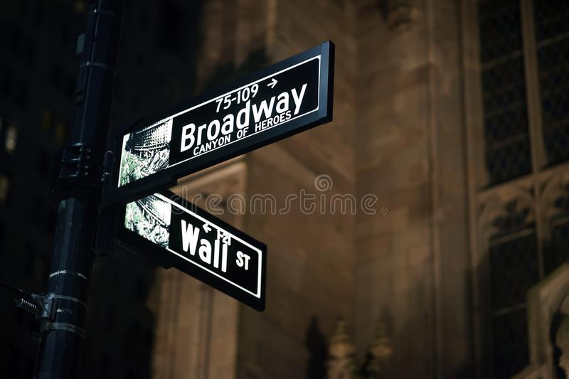 Broadway and Wall Street Signs at the night, Manhattan. New York royalty free stock photography