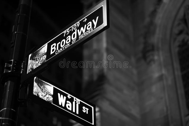 Broadway and Wall Street Signs at the night, Manhattan. New York stock images