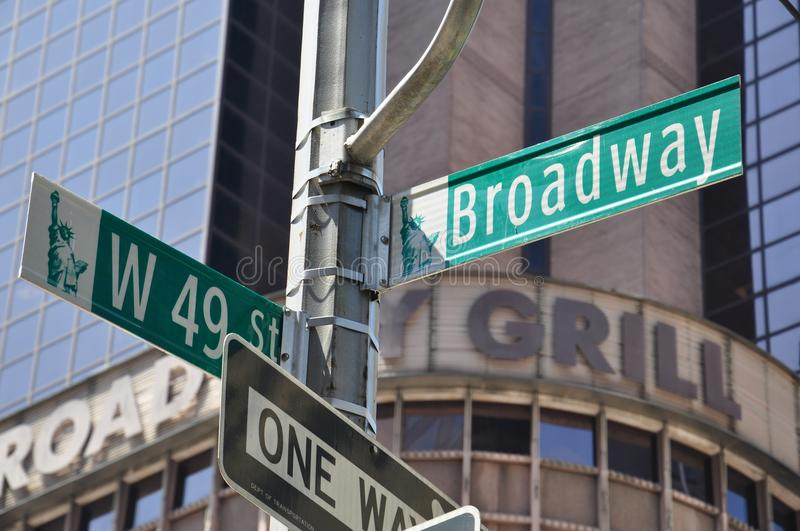 Broadway direction sign in Manhattan, New York, USA royalty free stock photo