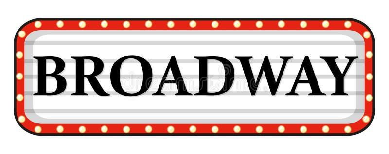 Broadway-Zeichen mit rotem Rahmen lizenzfreie abbildung