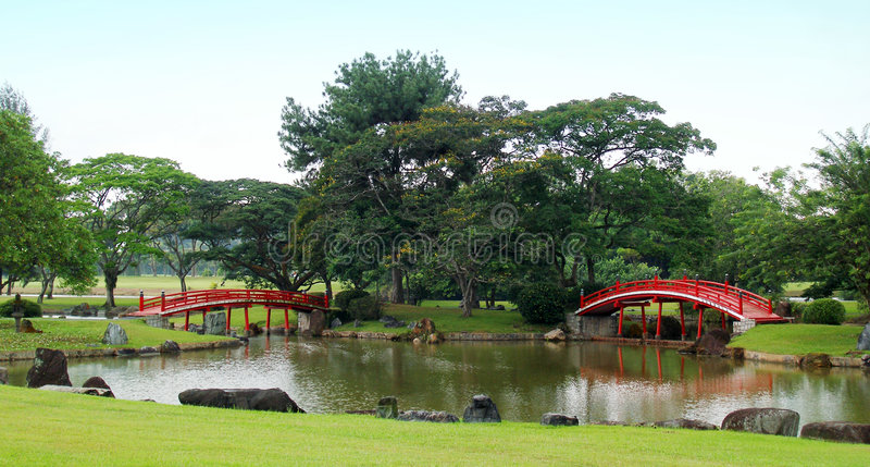 broar arbeta i trädgården japansk red royaltyfria bilder