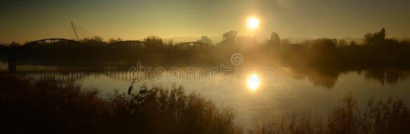 Broar i misten fotografering för bildbyråer