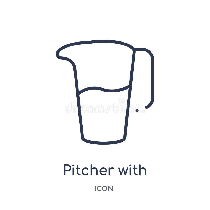 broc avec l'icône de niveaux de la collection d'ensemble d'outils et d'ustensiles Ligne mince broc avec l'icône de niveaux d'isol illustration de vecteur