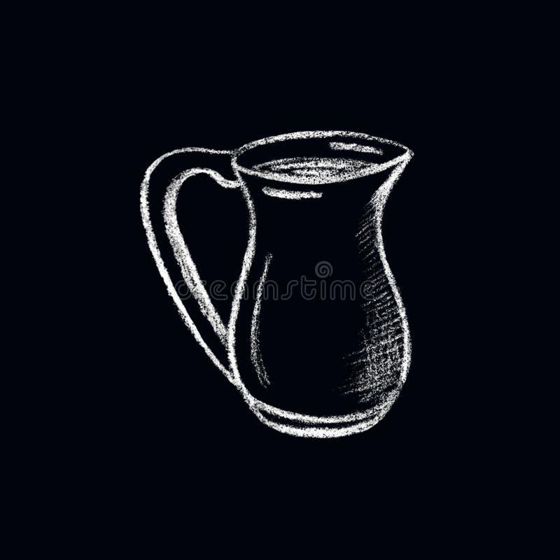 Broc blanc de lait de craie sur le fond noir Illustration tirée par la main de menu de café ou de café illustration stock
