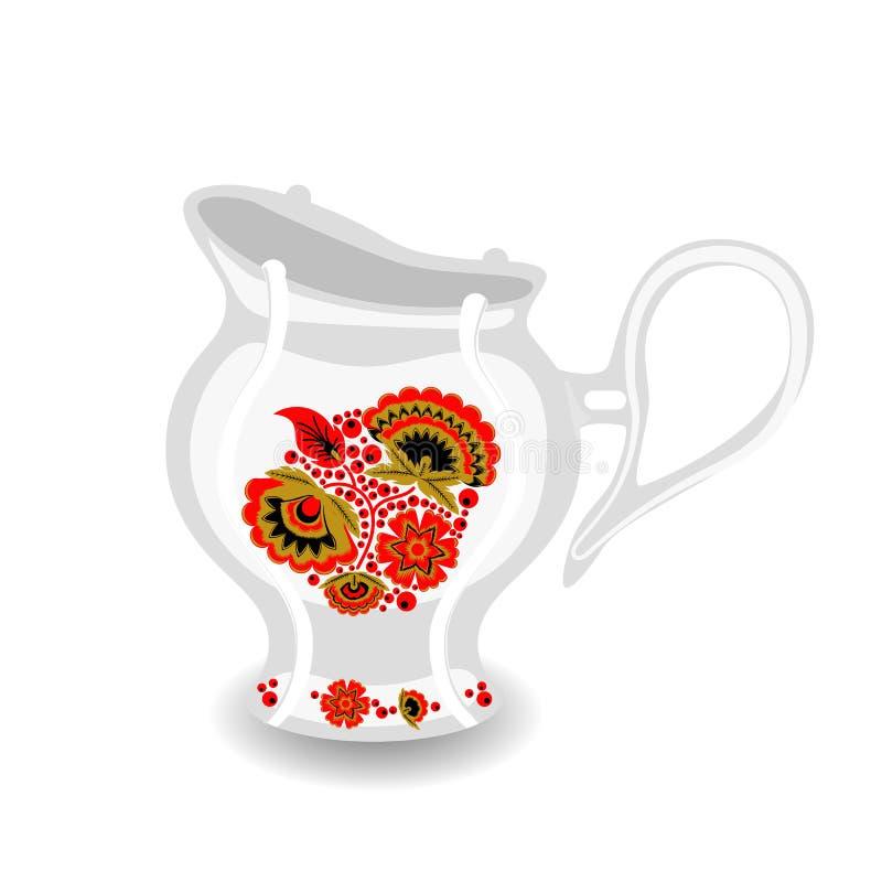 Broc de thé avec l'ornement de khokhloma illustration de vecteur