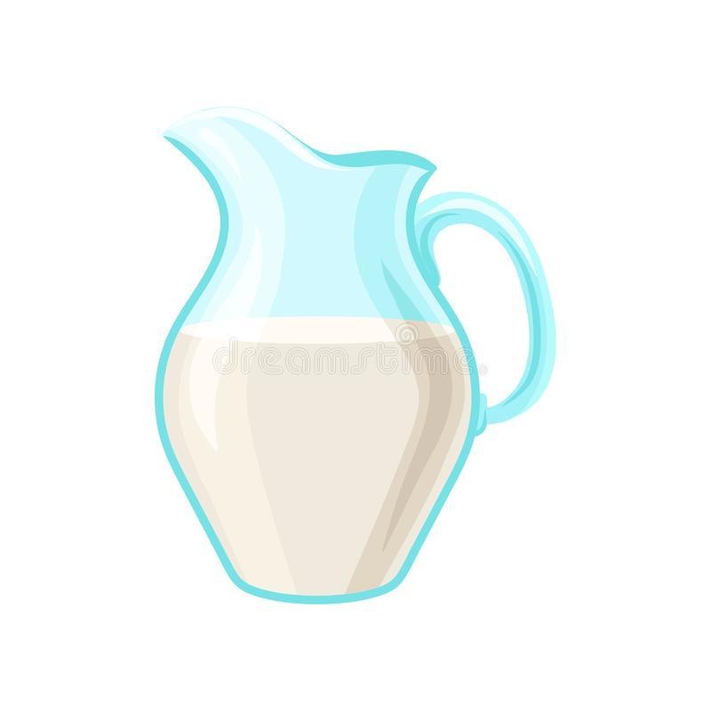Broc en verre de lait, illustration de vecteur de bande dessinée de laitages illustration stock