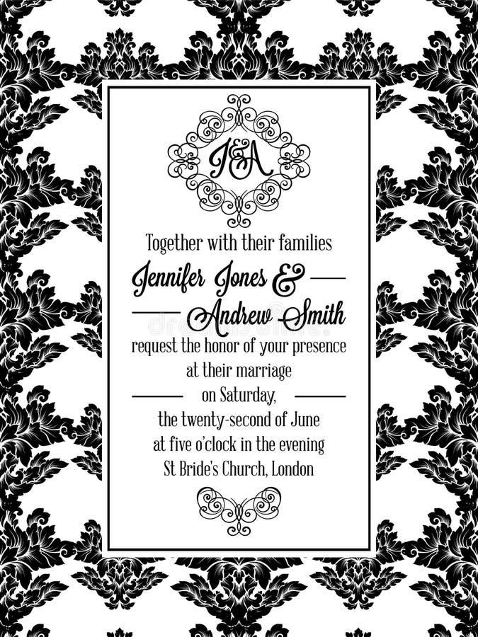 Brocado del victorian del damasco para casarse la invitación ilustración del vector