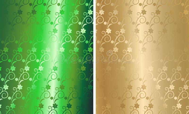 brocado floral de oro del vector stock de ilustración