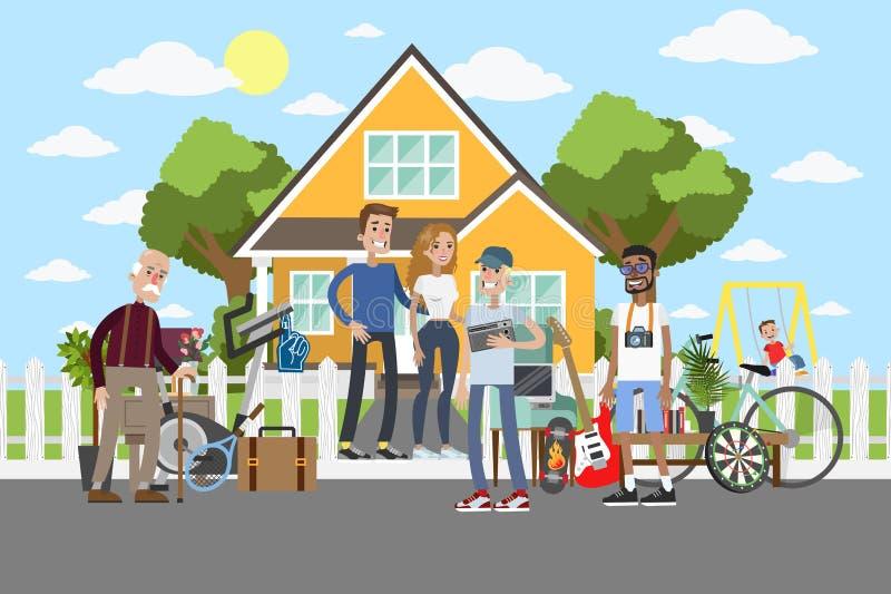 Brocante à domicile sur la rue illustration stock