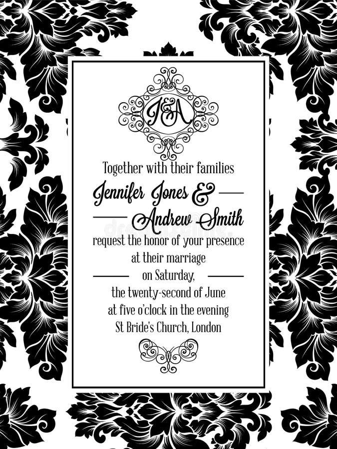 Brocard de victorian de damassé pour épouser l'invitation illustration de vecteur