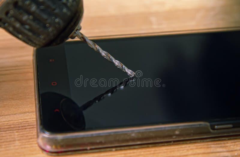 Brocas do telefone da broca fotografia de stock