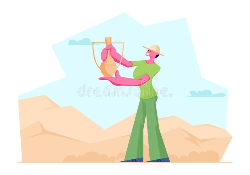 Brocca antica trovata donna dell'archeologo in deserto, scienziato Character Working sugli scavi e manufatti archeologici d'esplo royalty illustrazione gratis