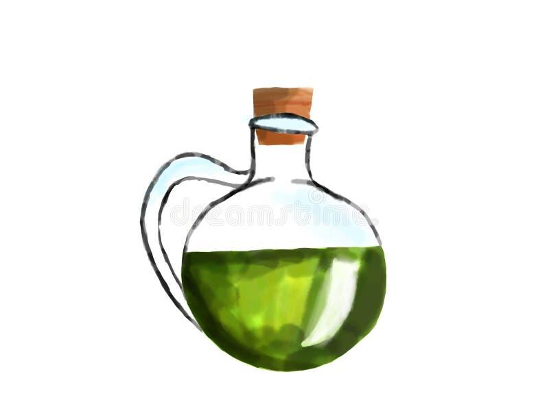 Brocca con olio d'oliva verde o elisir magico, acquerello fotografia stock