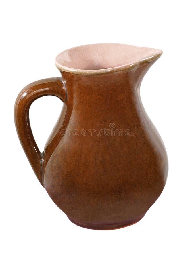 Brocca di ceramica. Isolato. fotografia stock libera da diritti