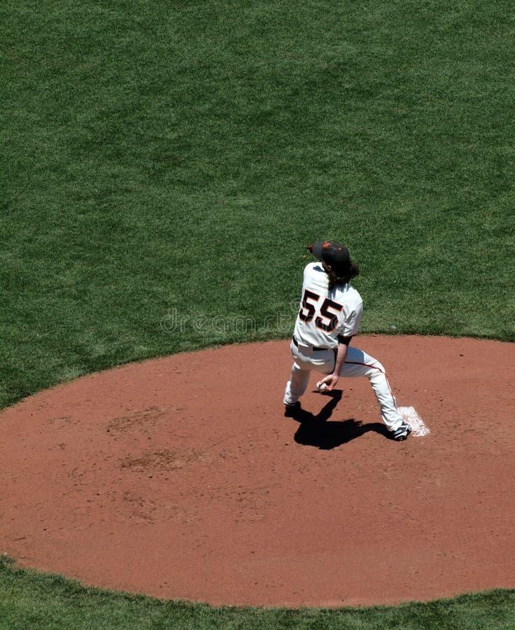 Brocca Tim Lincecum del Giants nel movimento di lancio fotografie stock