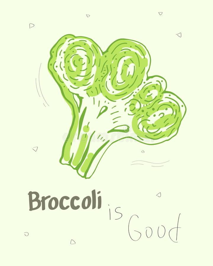 Broccoli är bra Gullig tecknad filmvektorillustration stock illustrationer