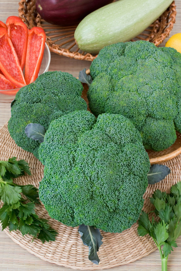 Broccoli. Fresh broccoli from market on a table royalty free stock photos