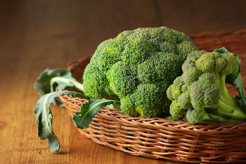 Broccoli In Basket Stock Photos