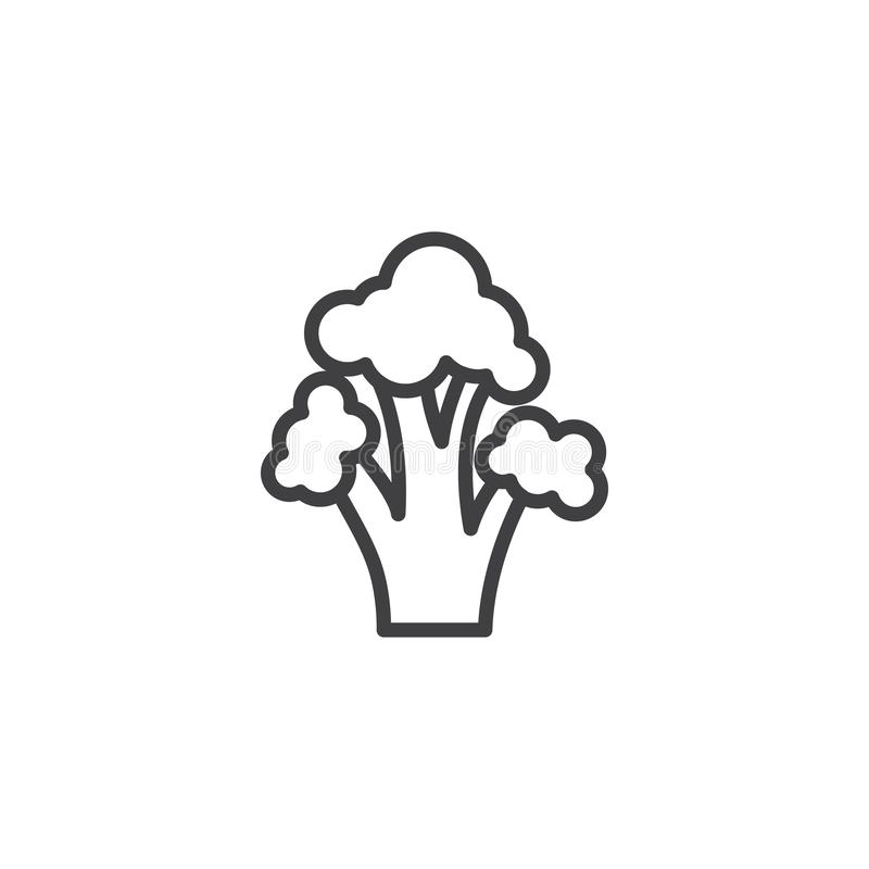 Broccoli cabbage vegetable line icon. Linear style sign for mobile concept and web design. Fresh broccoli outline vector icon. Symbol, logo illustration royalty free illustration