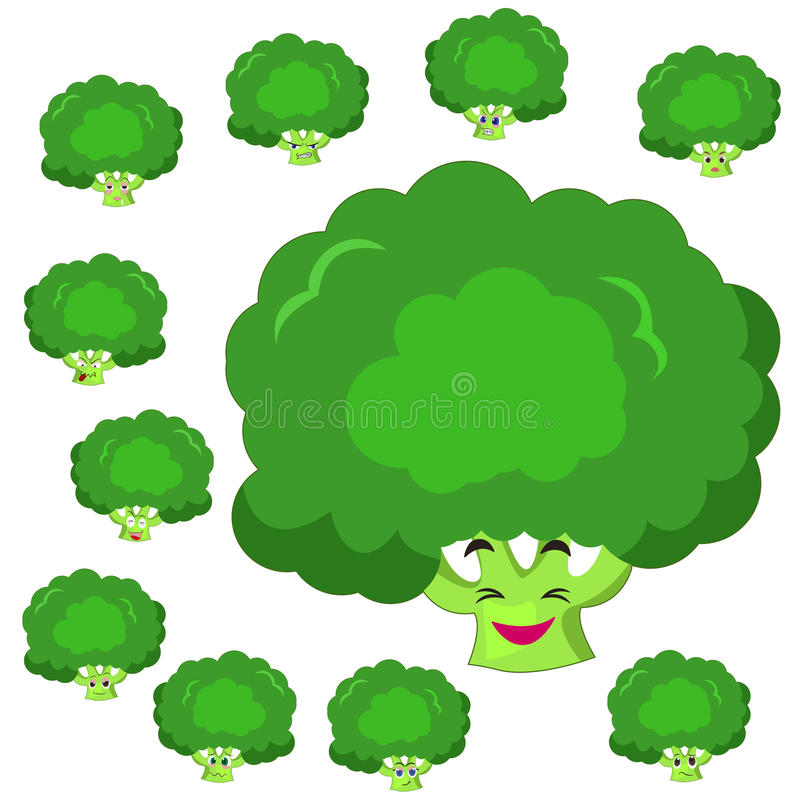 Broccoli cartoon with many expressions royalty free illustration