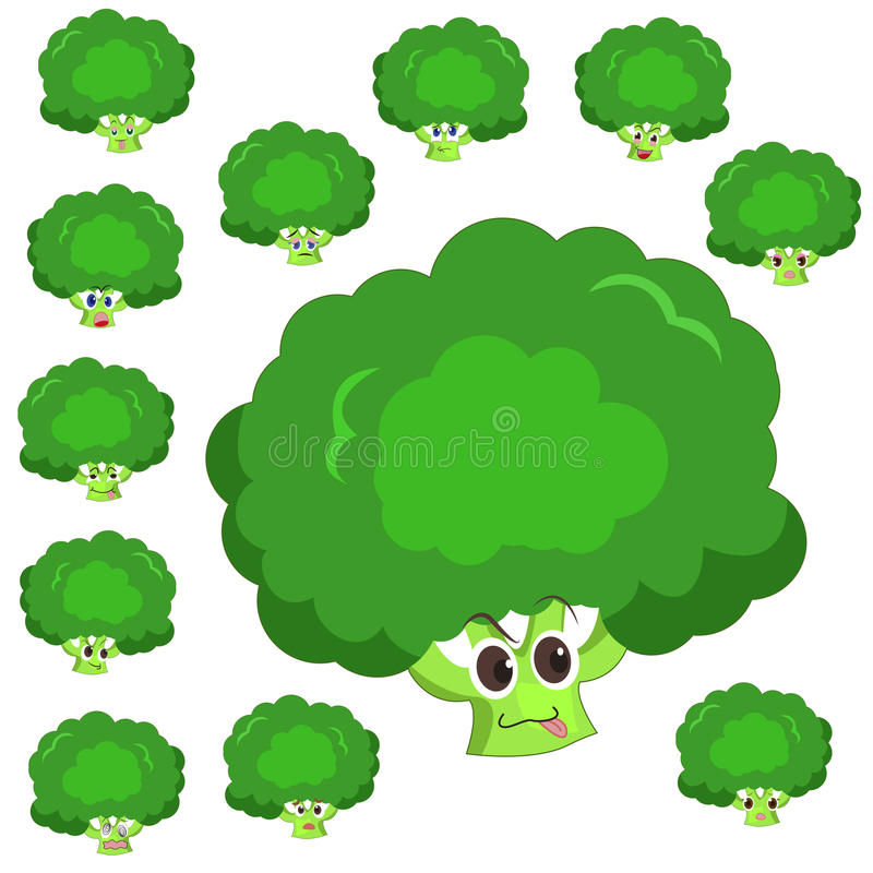 Broccoli cartoon with many expressions vector illustration