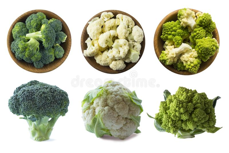 Broccoli, cauliflower and roman cauliflower in wooden bowl isolated on a white background. Three bowls of cabbage on a white backg. Round. Set of cabbage. Top royalty free stock photos