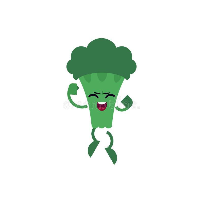 Broccoli che celebrano successo e che saltano su con l'espressione felice Carattere isolato fumetto piano della verdura verde illustrazione vettoriale