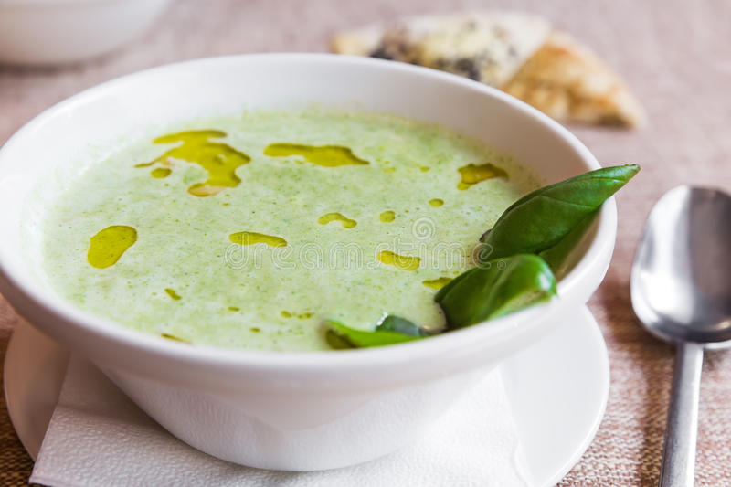 Broccoli and cheddar cheese soup royalty free stock image