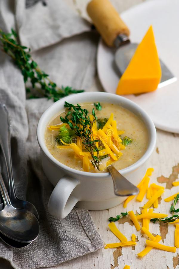 Broccoli cheddar chicken and dumpling soup royalty free stock photo