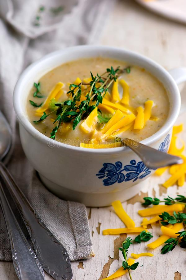 Broccoli cheddar chicken and dumpling soup stock photo