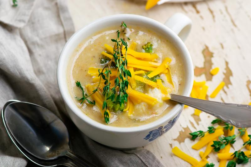 Broccoli cheddar chicken and dumpling soup royalty free stock photography