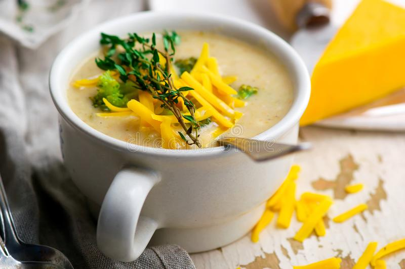 Broccoli cheddar chicken and dumpling soup royalty free stock photos