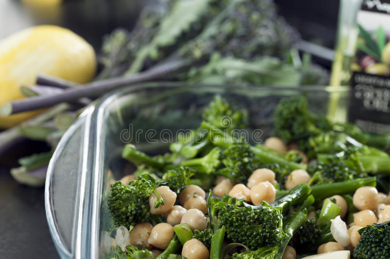 Download Broccoli and Chick Peas stock image. Image of dinner - 25970047
