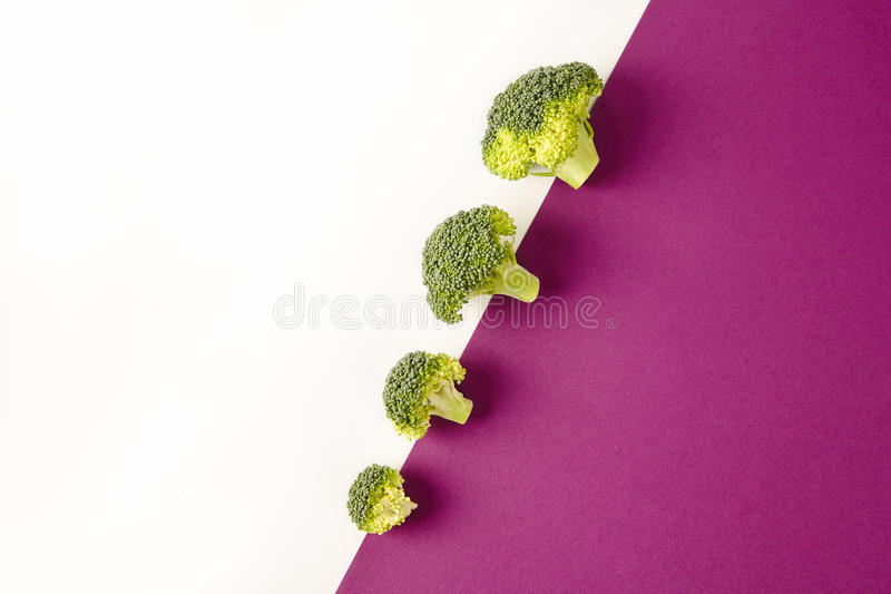 Broccoli on colored violet white background. Diagonal. Seasonal vegetables in modern style design pattern.  stock images