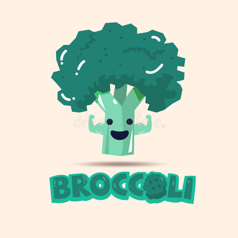 Broccoli die spier tonen eet sterk Gezondste Groentenconce royalty-vrije illustratie