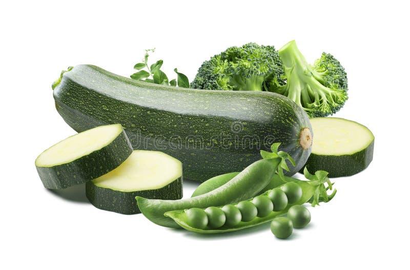 Broccoli för gröna ärtor för zucchini som isoleras på vit bakgrund arkivfoto