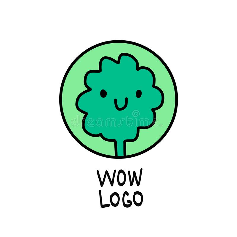 Broccoli flat icon. Round colorful button, circular vector sign, logo illustration. Flat style design smiling vegetable royalty free illustration