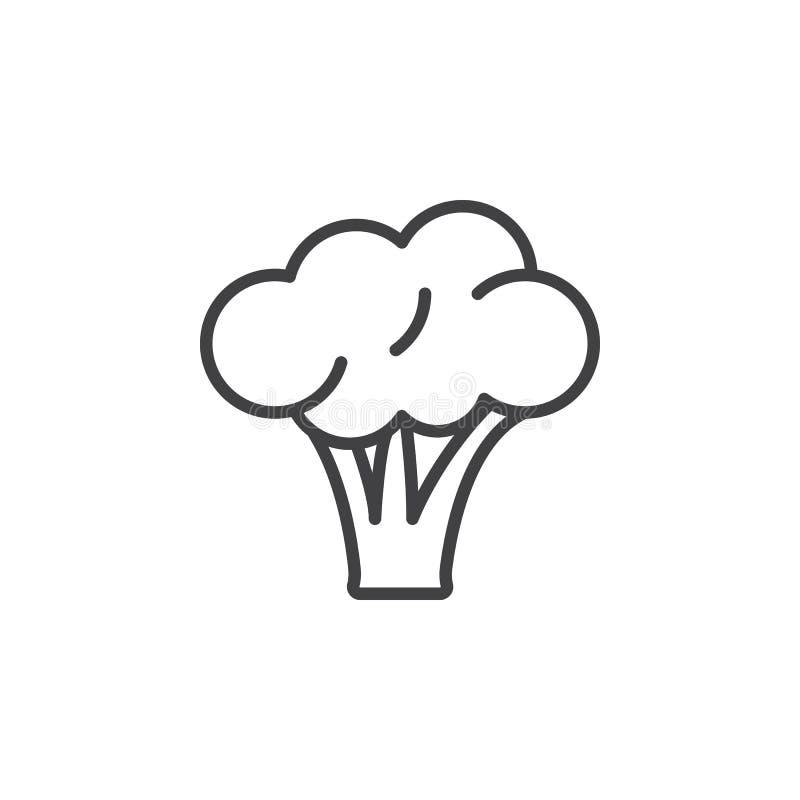 Broccoli fodrar symbolen, översiktsvektortecknet, den linjära pictogramen som isoleras på vit vektor illustrationer