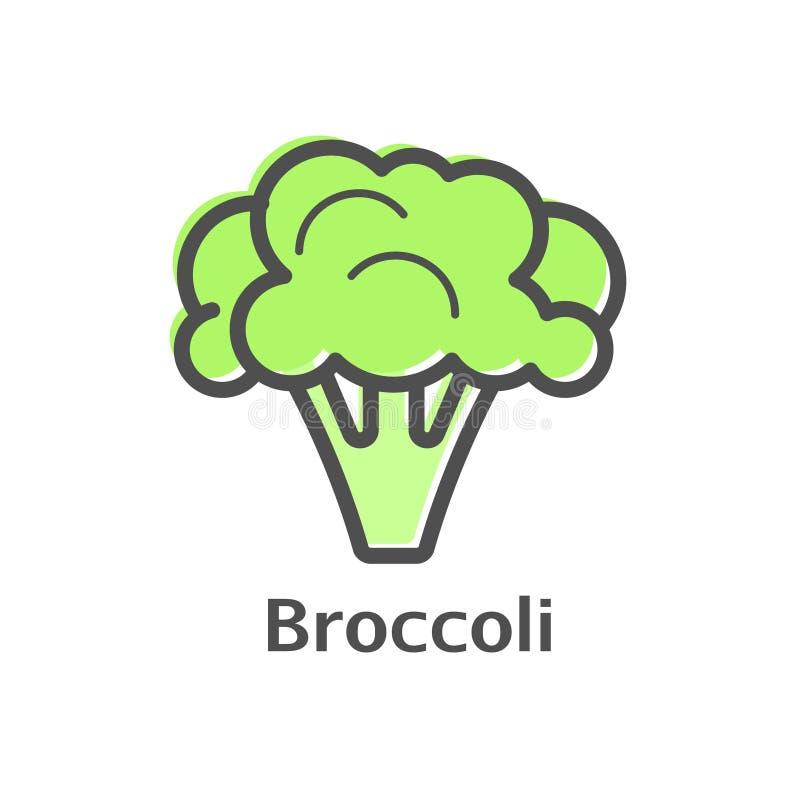 Broccoli gör linjen symbol tunnare Isolerad linjär stil för blomkålgrönsak för menyn, etikett, logo Enkelt vegetariskt mattecken royaltyfri illustrationer