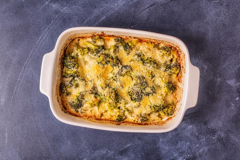 Broccoli gratin in a baking dish. Top view stock photography