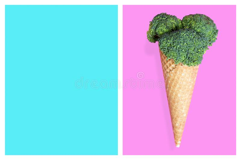 Broccoli ice cream cone, summer diet concept royalty free stock photography