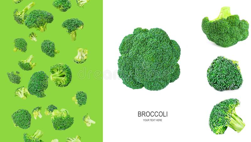 Broccoli Isolated. Creative layout made of flying broccoli pieces. Healthy Food Concept.  Flat lay stock photography