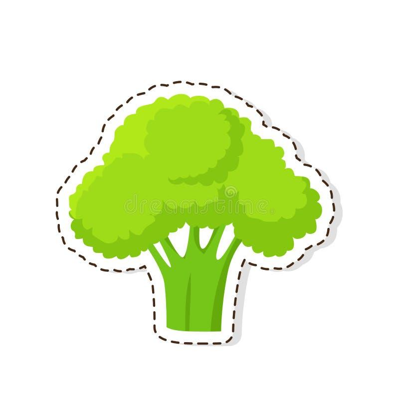 Broccoli maturi autoadesivo o icona isolato vettore piano illustrazione vettoriale