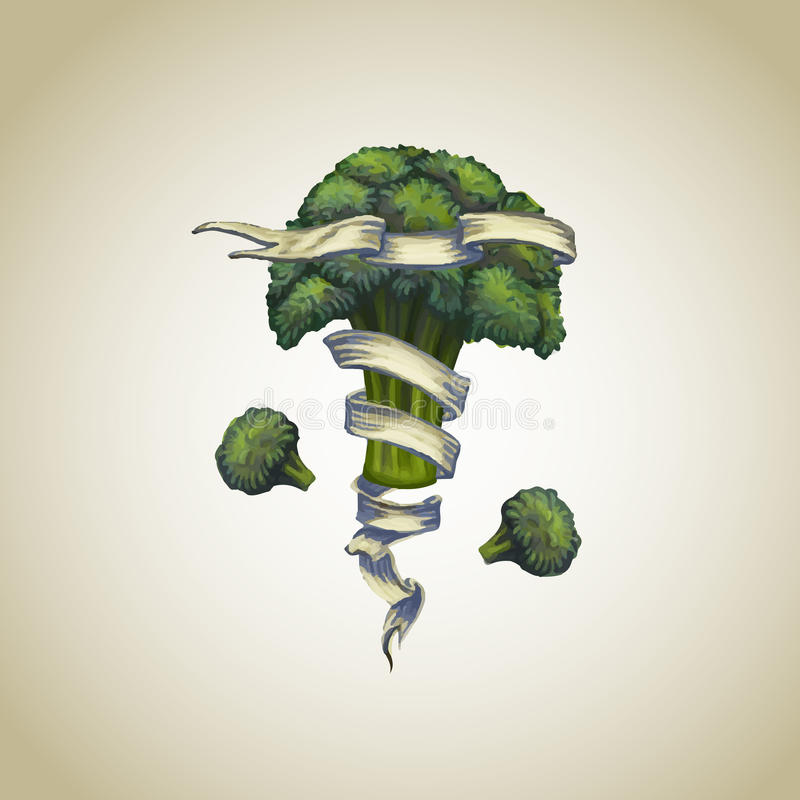 Broccoli met heraldisch lint vector illustratie