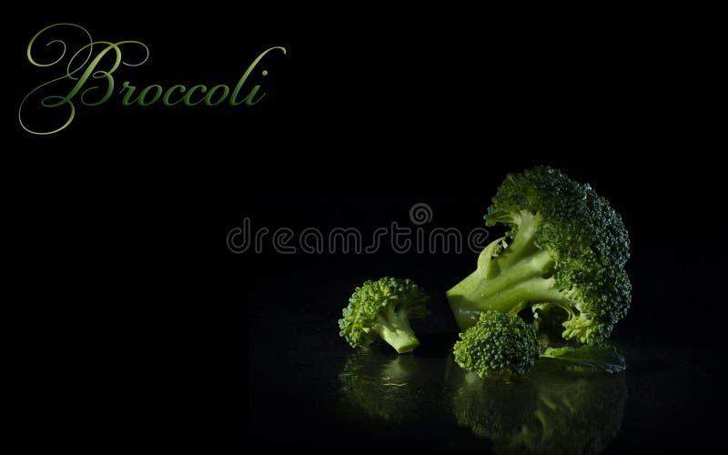 Broccoli op een zwarte achtergrond royalty-vrije stock fotografie