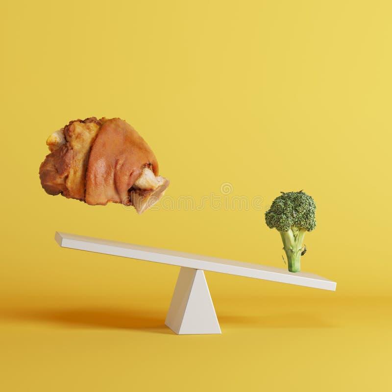 Broccoli plantaardig het tippen geschommel met drijvend varkensvleesbeen op tegenovergesteld eind op gele achtergrond vector illustratie