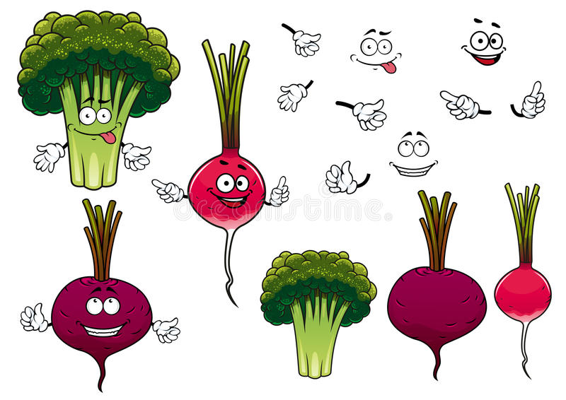 Broccoli, radish and beet vegetables. Cartoon green broccoli, crunchy radish and juicy beet vegetables characters, for agriculture or healthy vegetarian food royalty free illustration