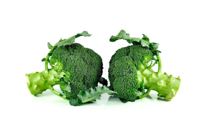 Broccoli stänger sig upp isolerat på vit bakgrund royaltyfria bilder