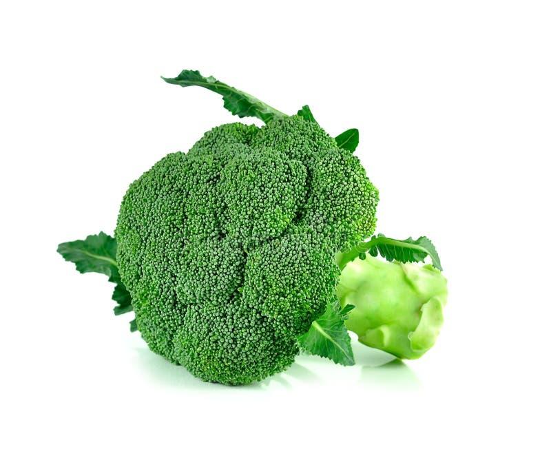 Broccoli stänger sig upp isolerat på vit bakgrund arkivfoto