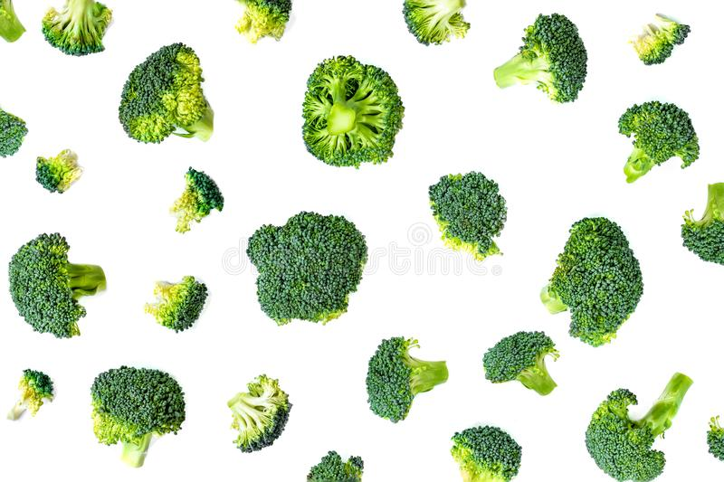 Broccoli Vegetable Pattern. Summer  abstract background. Broccoli isolated on the white background.  royalty free stock photos